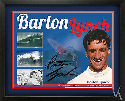 Surfing Poster Barton Lynch Surfing World Champion Lt Edition Signed And Framed