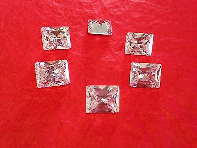 FOUR - 0.50 ct (4 mm x 6 mm) Russian Simulated Diamond RADIANT CUT WHITE