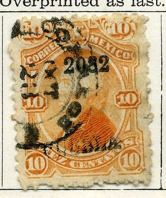 MEXICO;  1874 early classic Optd issue fine sued 10c. value