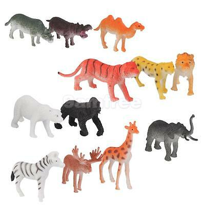 12 Plastic Zoo Figure Jungle Wild Animals Childrens Toy Party Bag Favors Set