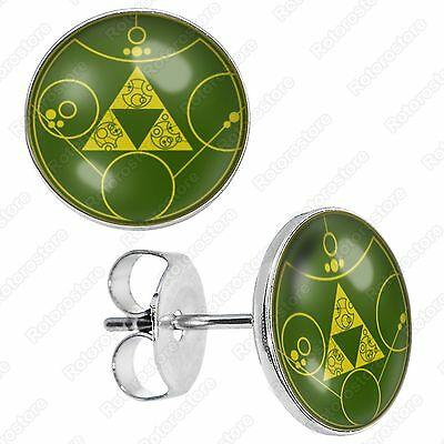 Ancient Zelda Triforce Stainless Steel Stud Earrings - Mens Womens Fashion - New