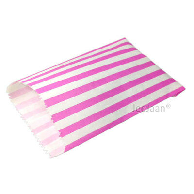 """PINK CANDY STRIPE PAPER BAGS SWEET FAVOUR BUFFET GIFT SHOP PARTY 7"""" x 9"""""""