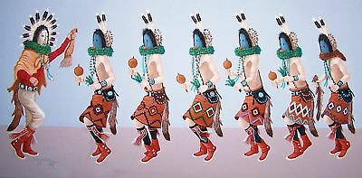 Navajo canvas painting 7 KACHINAS NAVAJO YEI 18x24 by renowned Jimmy Yellowhair