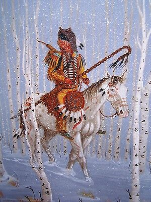 Navajo canvas painting ALONE IN THE SNOW 18x24 world renowned Jimmy Yellowhair