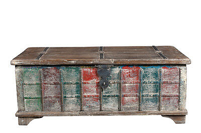 Low coffee table made of old wood shabby chic colorful India Luxury Park