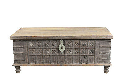 Large chest table carved wood Rajasthan 1920 Luxury Park