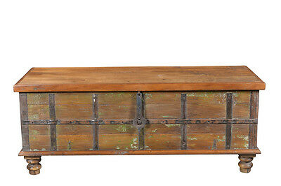 Antique chest width table bench used wood India Luxury Park