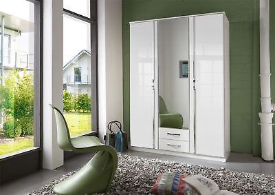 German Trio White High Gloss & Chrome 3 Door Mirror 135cm 4FT6 Wardrobe