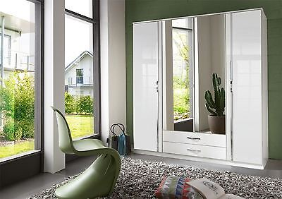 German Trio White High Gloss & Chrome 4 Door Mirror 180cm 6FT Wardrobe