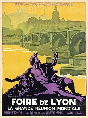 1922 Travel Poster - Fair of Lyon Vintage Style French Travel Poster - 20x28