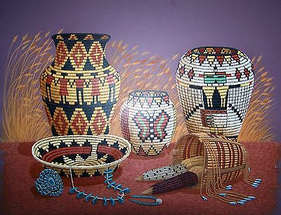 Navajo canvas painting FIVE BASKETS 30x24 by world renowned Jimmy Yellowhair