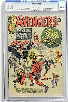 Avengers # 6 CGC 5.0  Off-White Pages 1st App of Baron Zemo & Masters of Evil