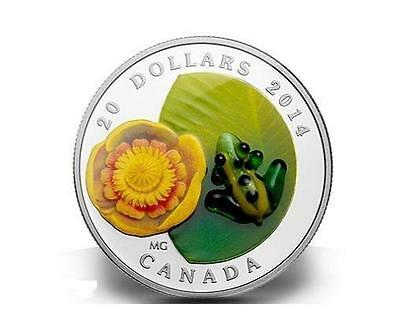 Canada 2014 20$ Water-lily Venetian Glass Leopard Frog 1 Oz Proof Silver Coin