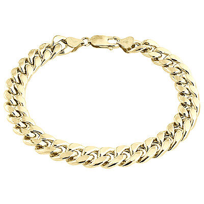 "Mens 1/20th 10k Yellow Gold Hollow Miami Cuban Bracelet 9mm Handmade 8"" & 9"""