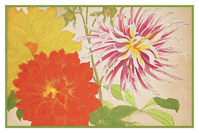Orenco Originals The Dahlia Pot Inspired a May Morris Embroidery Design Counted Cross Stitch Pattern