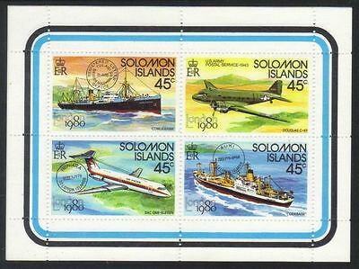 Solomon Islands 1980 London Stamp Exhibition. Mail-carrying Transport MS MNH