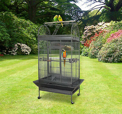 Bird Parrot Aviary Cage Pet Coop Wire Mesh Breeding Large House With Wheel