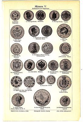 1894 OLD ANCIENT COINS  Antique Engraving Lithograph Print