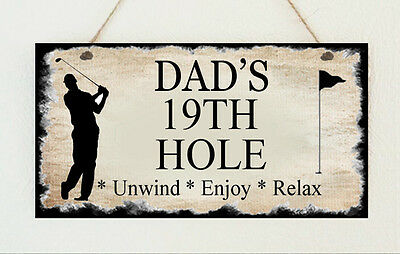 Personalised Plaque Grandad Dad Uncle Brother Son Golf 19th Hole Present Gift