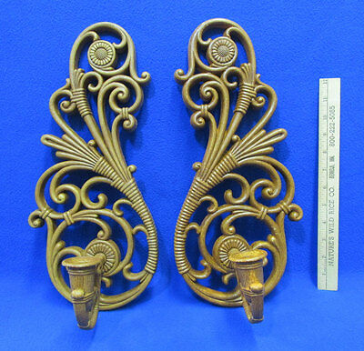 Vintage Homco Interiors Wall Sconces Scroll Design Made USA Brown Plastic Lot 2