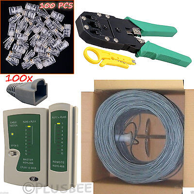 305M CAT6 Cable Roll Crimper Cable Tester RJ45 Boots Connectors Network Kit