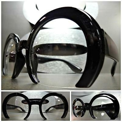 CLASSIC VINTAGE RETRO Style Clear Lens EYE GLASSES Unique Black Half Round Frame