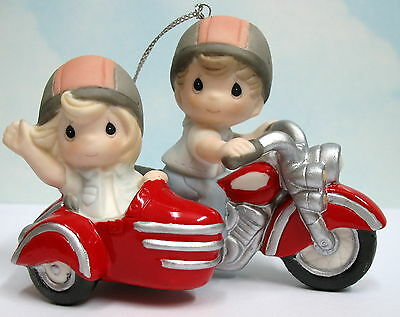 Precious Moments Couple On Red Motorcycle W/ Sidecar Ornament 151045 Forever By