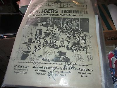 Signed Lake Placid newspaper by 17 members of 1980 Miracle on Ice Hockey team