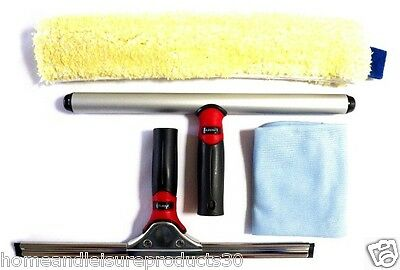 Stainless Steel Window Cleaning Kit (35cm Squeegee, Washer, Microfibre Cloth)