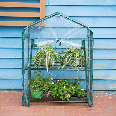 2-Tier Mini Greenhouse with Transparent Cover for Herb Flower Garden Balcony