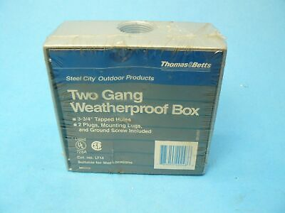 Thomas & Betts LT14 Two Gang Weatherproof Outlet Box Aluminum New