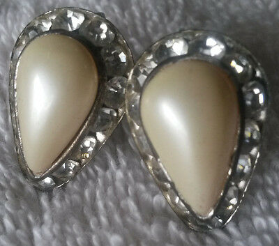 Vintage Earrings Costume Jewelry Pearl Screw-back 20s 30s Deco Old Classic