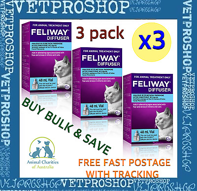 Feliway 48ml Diffuser Refill - 3 Packs - Free Fast Postage with Tracking