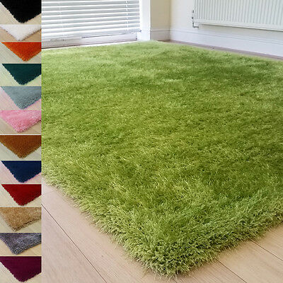 Thick 6Cm Pile Modern Soft Shimmer Shaggy Rug Small X Large Plain Quality Rugs