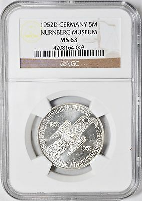 1952-D 5 Mark Silver Germany NGC- MS-63 Centenary- Nurnberg Museum Commemorative