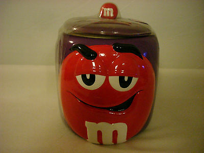 M&m's Galerie 2003 Ceramic Cookie Jar Candy Jar Purple Jar With Red M&m On Front