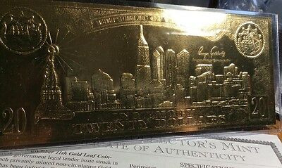 9-11 20 Dollar Gold Certificate. 22 KT Gold. BA8459 Serial Number. Collector COA
