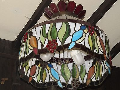 Architectural & Garden Stained Glass 50's Hanging Shade Birds All Around Rare