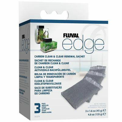 Fluval Edge Carbon Clean and Clear Renewal Sachet (3 Pack) Aquarium Fish Tank