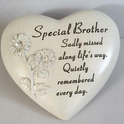 New SPECIAL BROTHER Diamante Detail Memorial Heart Shaped Garden Grave Ornament