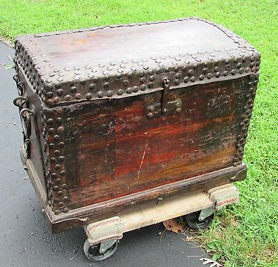 Antique Chinese Iron Bound Wood w/ Leather  Strong Box Trunk Chest Rare Type