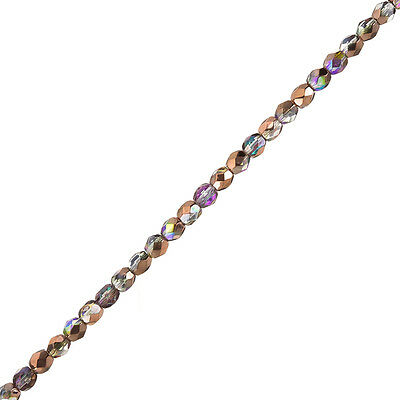 """Fire Polished Czech Beads 4mm Crystal Copper Rainbow 6"""" Strand 40 Pieces (H36/1)"""