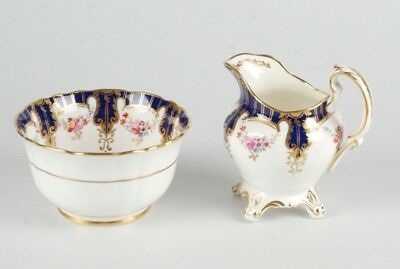 Antique Hand-Painted Porcelain Sugar Bowl And Creamer In The Style Of Coalport