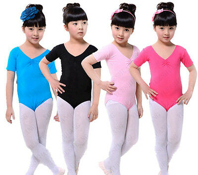 Girls Ladies Cotton Ballet Dance Gymnastics Skate Leotard – Short Sleeve