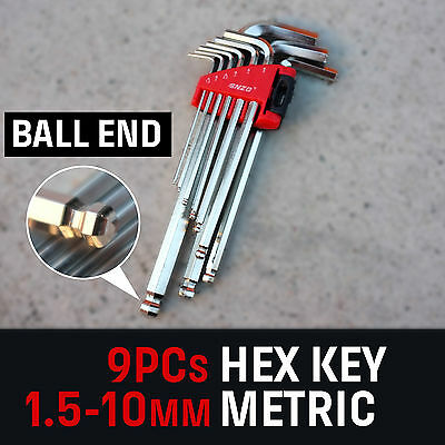 9 Piece Long Hex Key Set 1.5-10mm Ball Point Heads End Wrench Metric L-Style