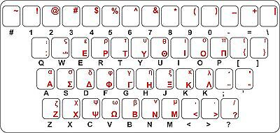 Sticker decal keyboard red letter greek greece laptop macbook transparent pc