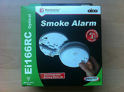 Aico Mains Smoke Alarm Detector Rechargeable Battery Backup Optical Ei166RC