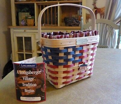 Longaberger 1998 Village 20th Century Basket Combo signed by 3 American Flag