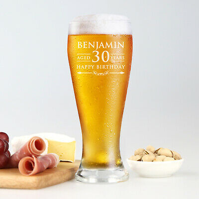 Personalised Engraved Giftboxed Beer Glass 425ml 18th 21st 30th 50th Birthday