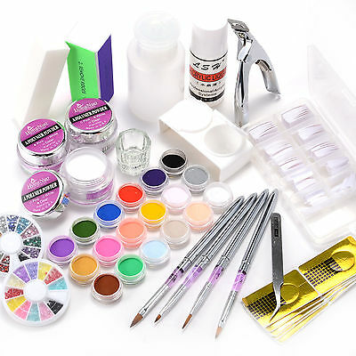 14in1 Nail Art Starter Kit Acrylic Liquid Color Powder Brush Glitter False Tips
